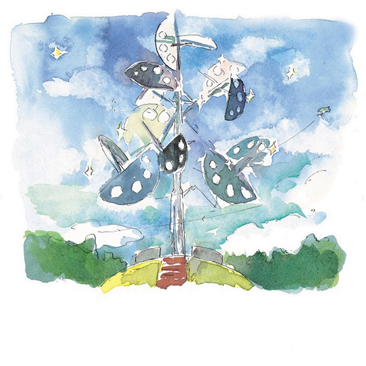 星のなる木 - 町民の浄財による創業者のモニュメント